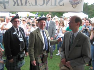 Mel Sinclair, President of Clan Sinclair USA; The Earl of Caithness and HRH The Prince Edward, Earl of Wessex at the Sinclair tent at Greenville Games on May 29th 2010